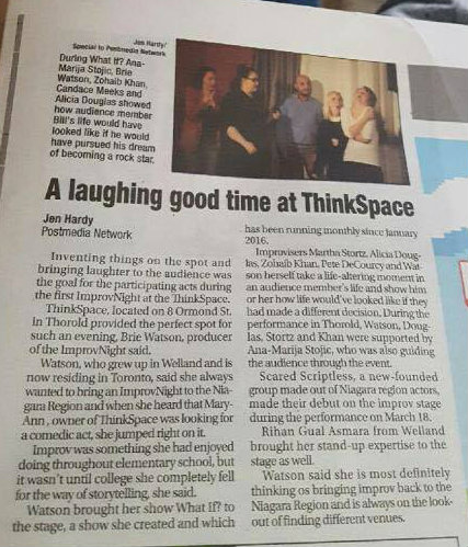 Review of Brie Watson's Improv Niagara show in Thorold